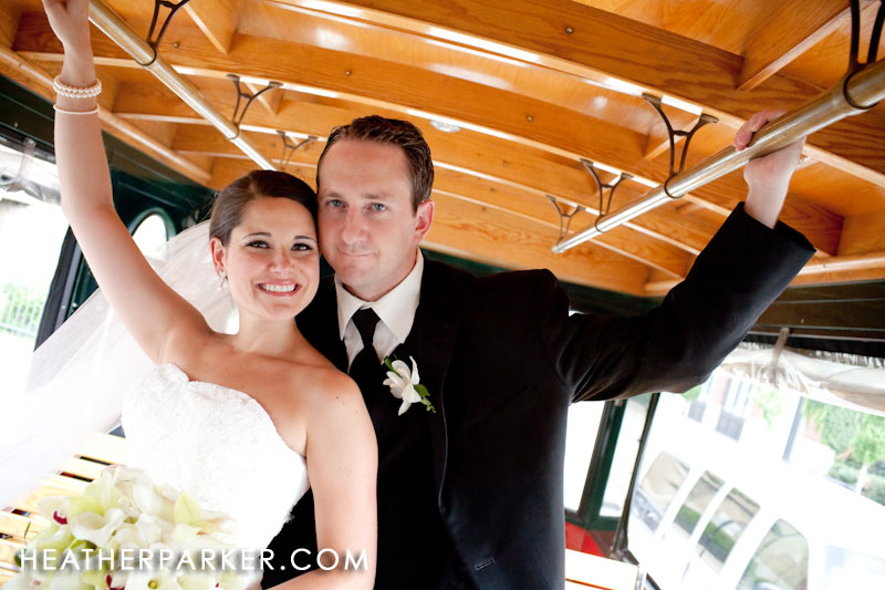 Wedding trolley in Chicago for bridal party photos around downtown