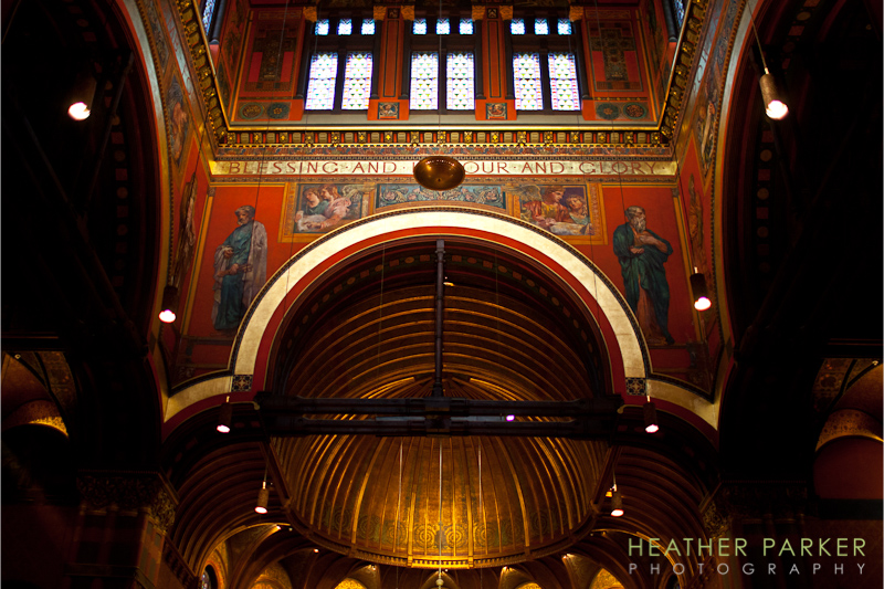 Trinity Church sanctuary murals in Boston interior photo by Heather Parker