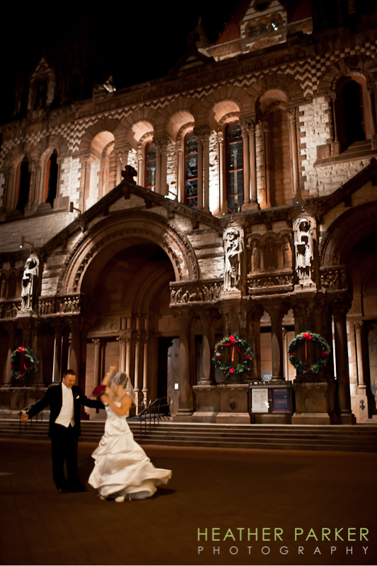 Trinity Church real weddings Boston exterior photo bride and groom