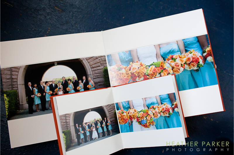 best wedding photography using tangerine tango and tiffany blue