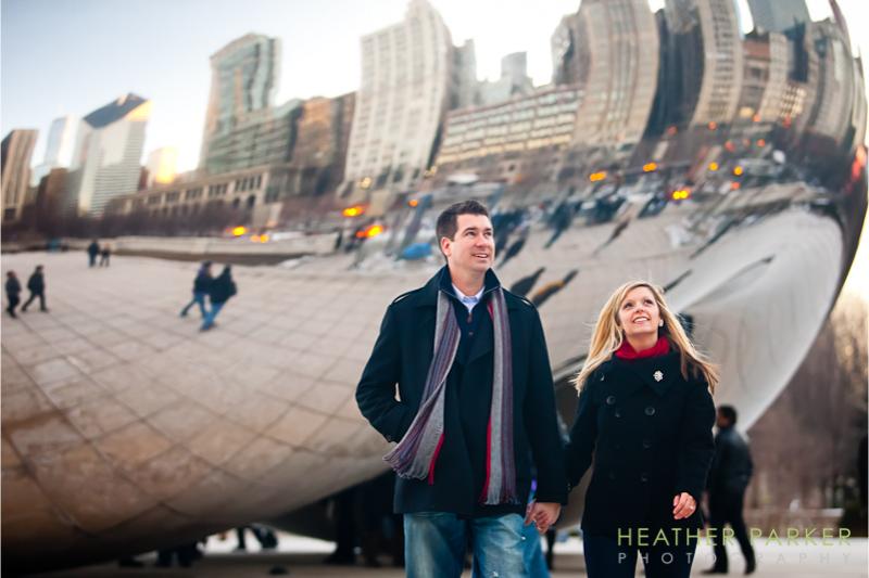 Chicago engagement photos at Millennium Park Bean Cloud Gate