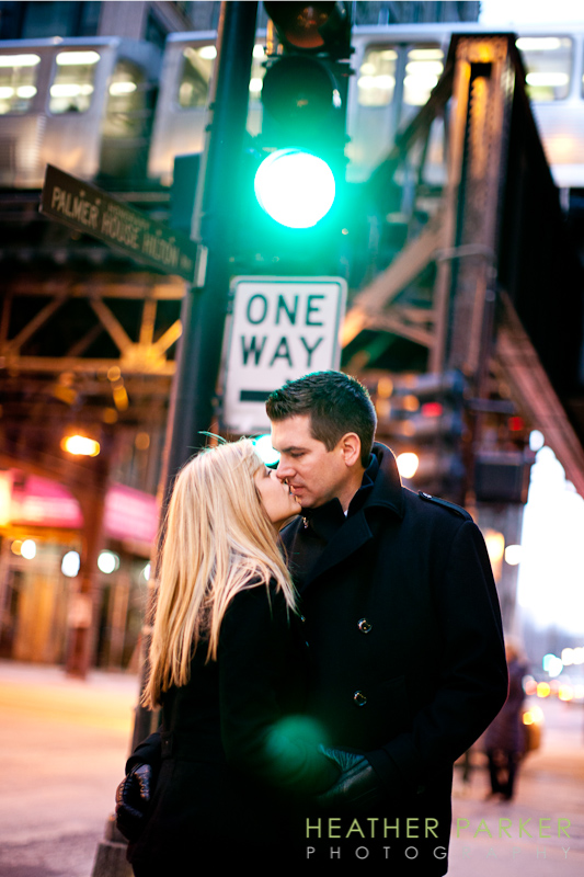 Chicago engagment photographer outside the Palmer House Hotel