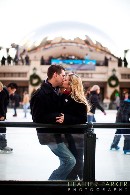 Chicago engagement photography at Millennium Park ice rink by Heather Parker