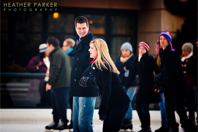 Chicago engagement session at Millennium Park ice rink by Heather Parker