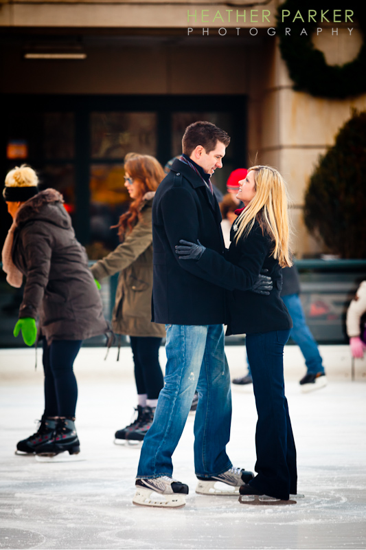 Millennium Park engagement session at the ice rink by Heather Parker