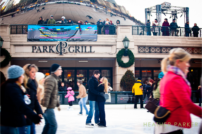 Chicago ice skating engagement shoot by Heather Parker