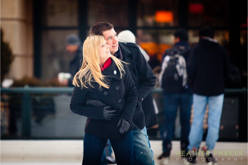 Chicago ice skating engagement photos by Heather Parker