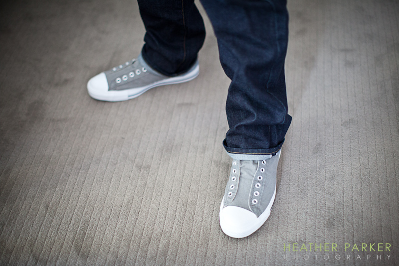 Gray slip on converse chuck taylor shoes for groom