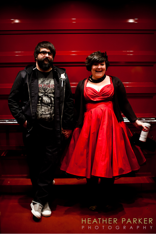 Indie hipster metal punk wedding in Las Vegas with a red dress