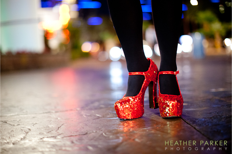 red sparkly shoes for a Las Vegas bachelorette before elopement wedding