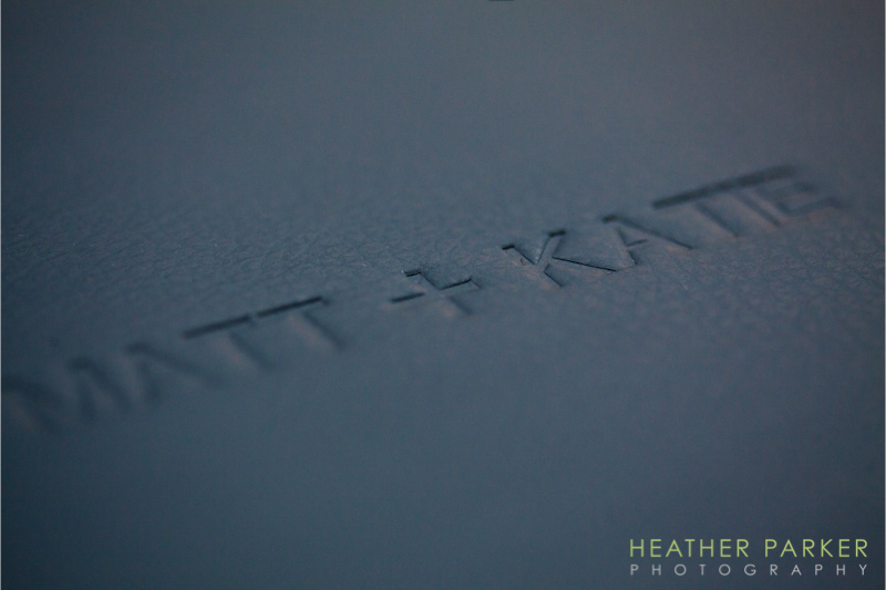 Queensberry Albums embossed leather detail