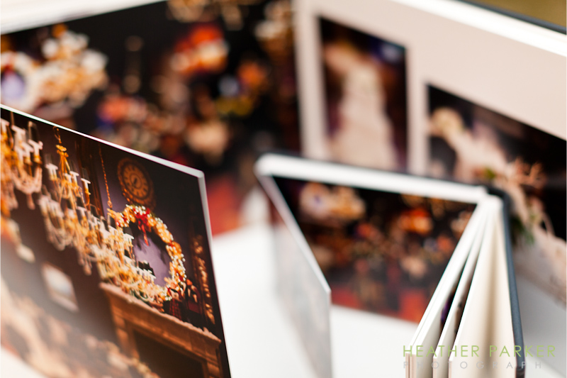 Panoramic fold out wing flip pages in a luxury leather wedding album