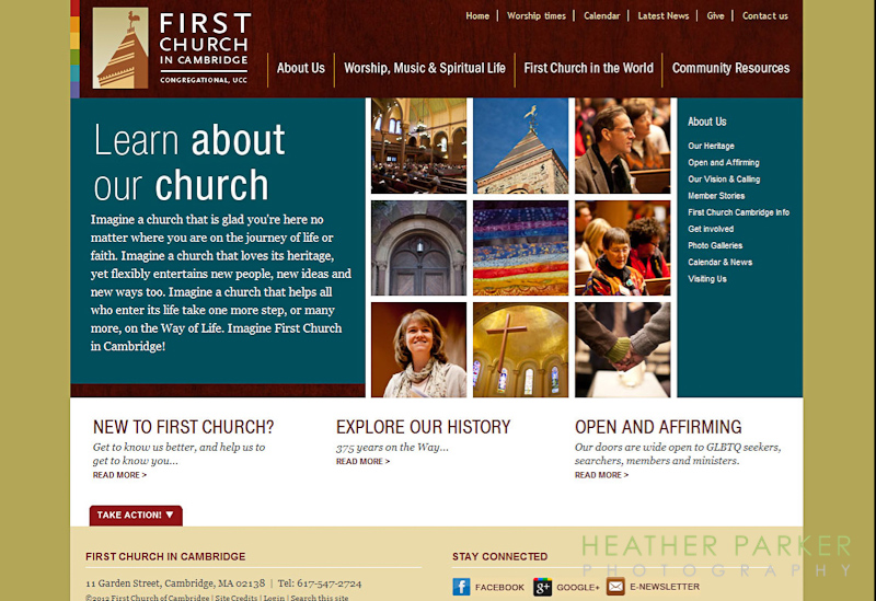 Web designer UCC church site First Church Cambridge by Theory One Design