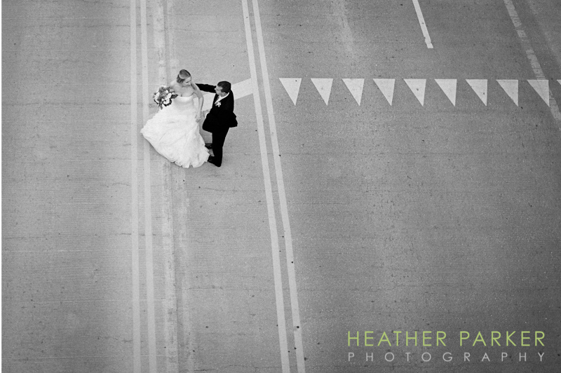 modern wing bride and groom shot from above