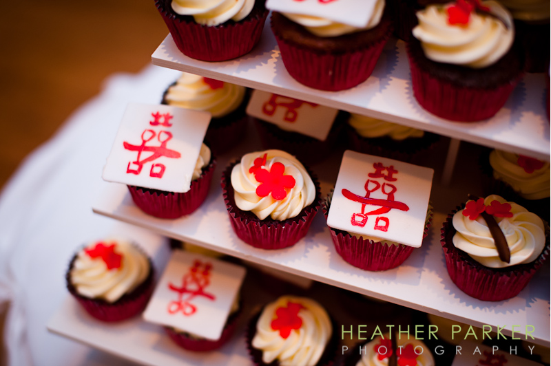 wedding cupcakes double happiness red and white taiwanese