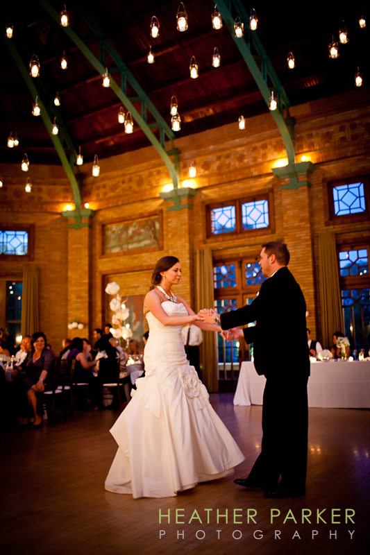 first dance at Cafe Brauer reception