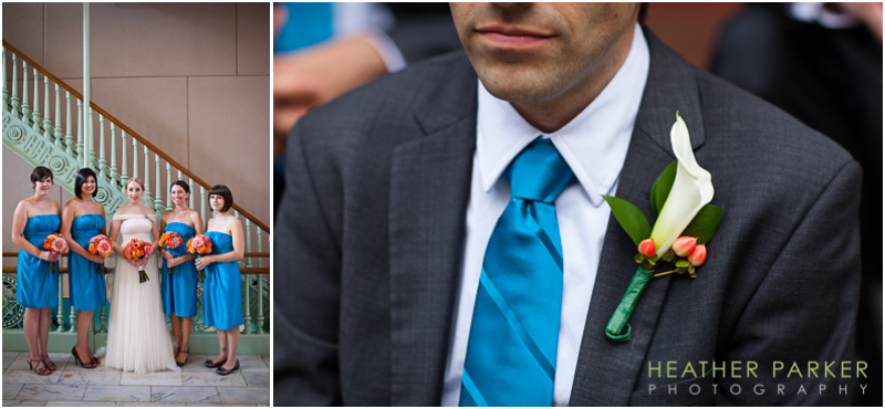 aqua teal blue orange wedding groomsmen bridesmaids