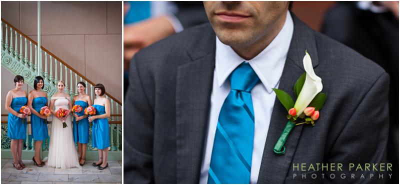 aqua teal blue orange wedding groomsmen bridesmaids