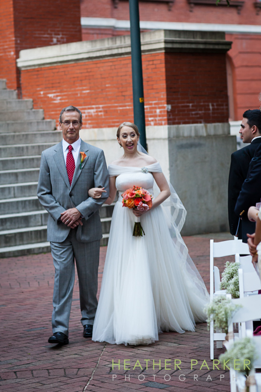 boston indie wedding photos of bride with her father during ceremony