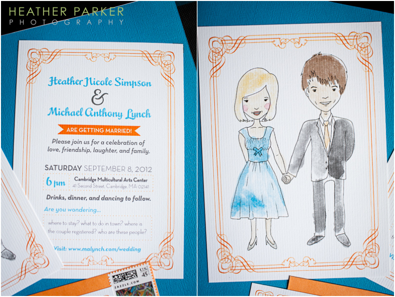 wedding stationery with custom bride groom portrait by Jana Kinsman