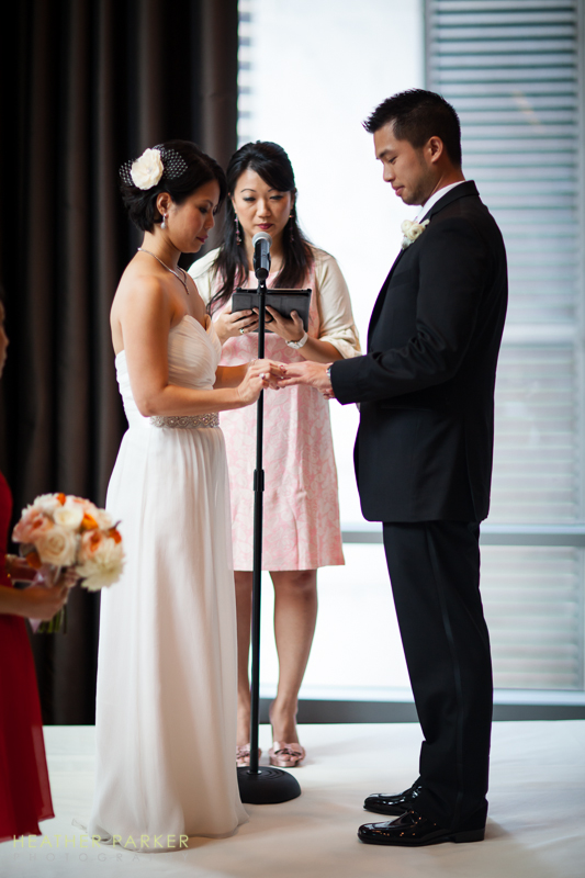 hotel wedding ceremony with great city views