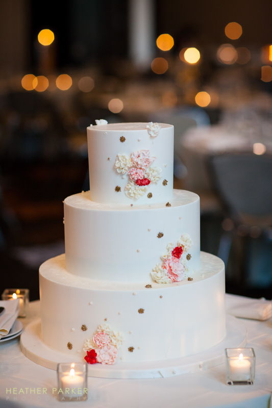 white and pink elegant wedding cake