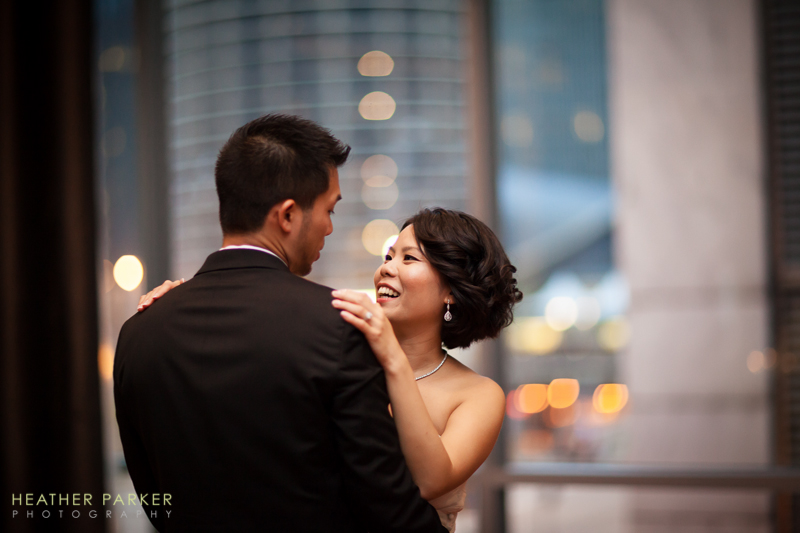 first dance at a hotel reception with great city views