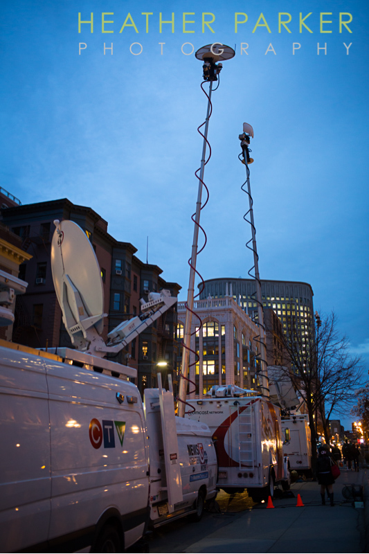 2013 Boston Marathon news trucks