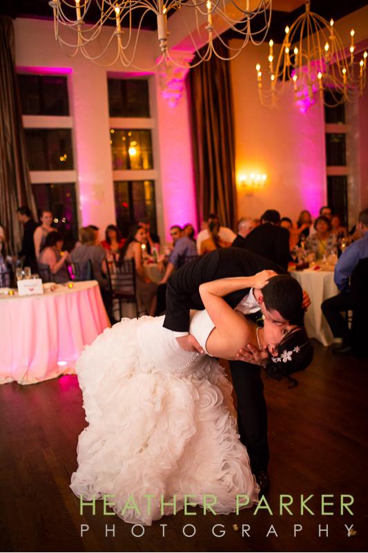 vintage wooden ballroom boston wedding reception first dance