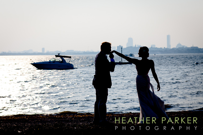 boston wedding at harbor islands with sky line