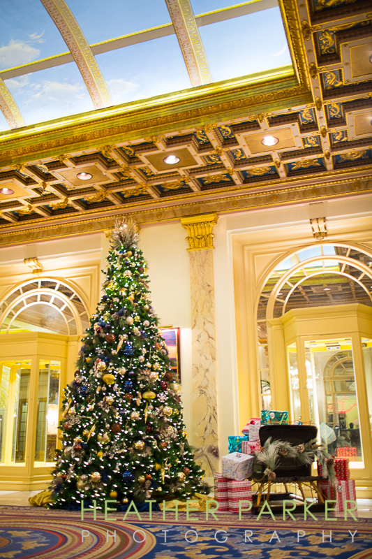 holiday decorated lobby at Boston Fairmotn Copley Plaza hotel
