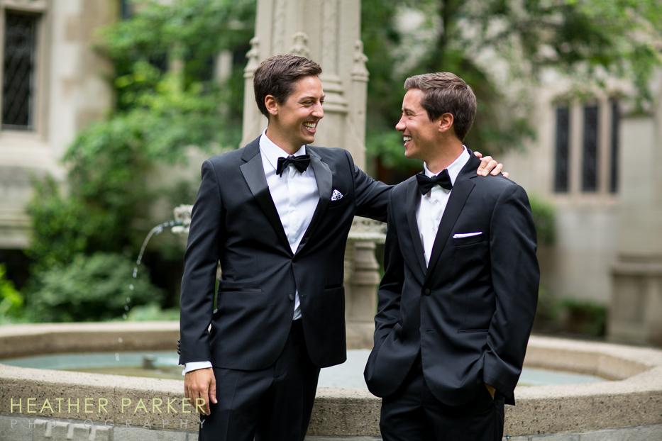Fourth Presbyterian Church Chicago Wedding groom and twin brother best man