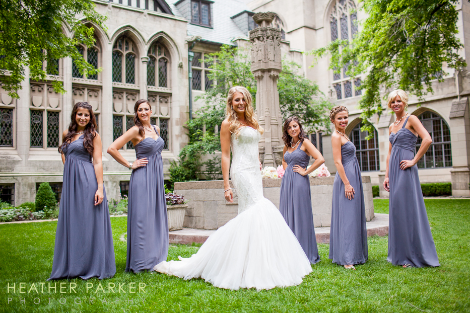 Fourth Presbyterian Church Chicago Wedding bridesmaids in lavender