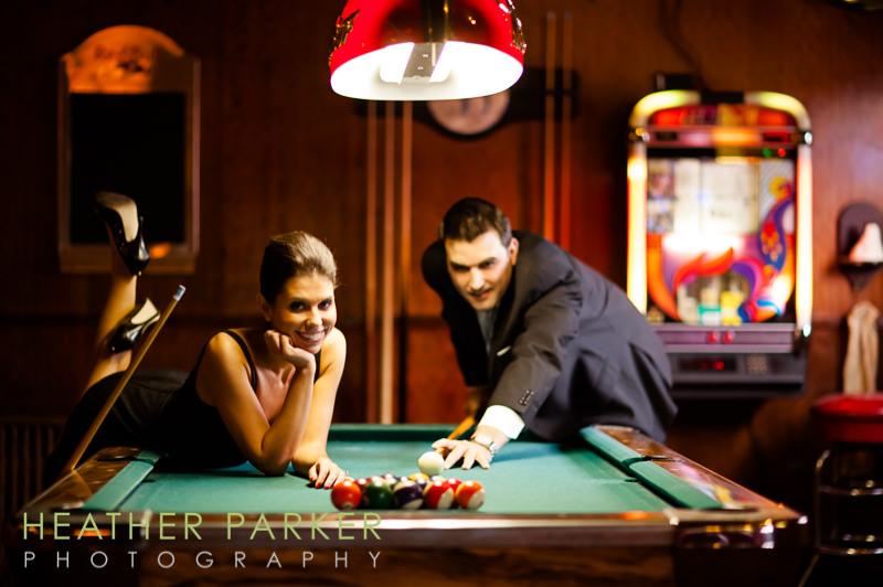 billiards pool engagement portraits