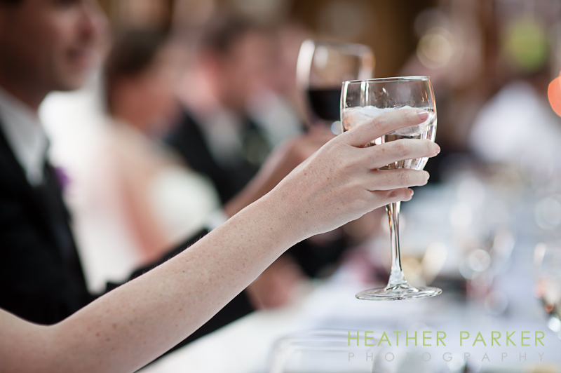 toast at Cafe Brauer Chicago wedding