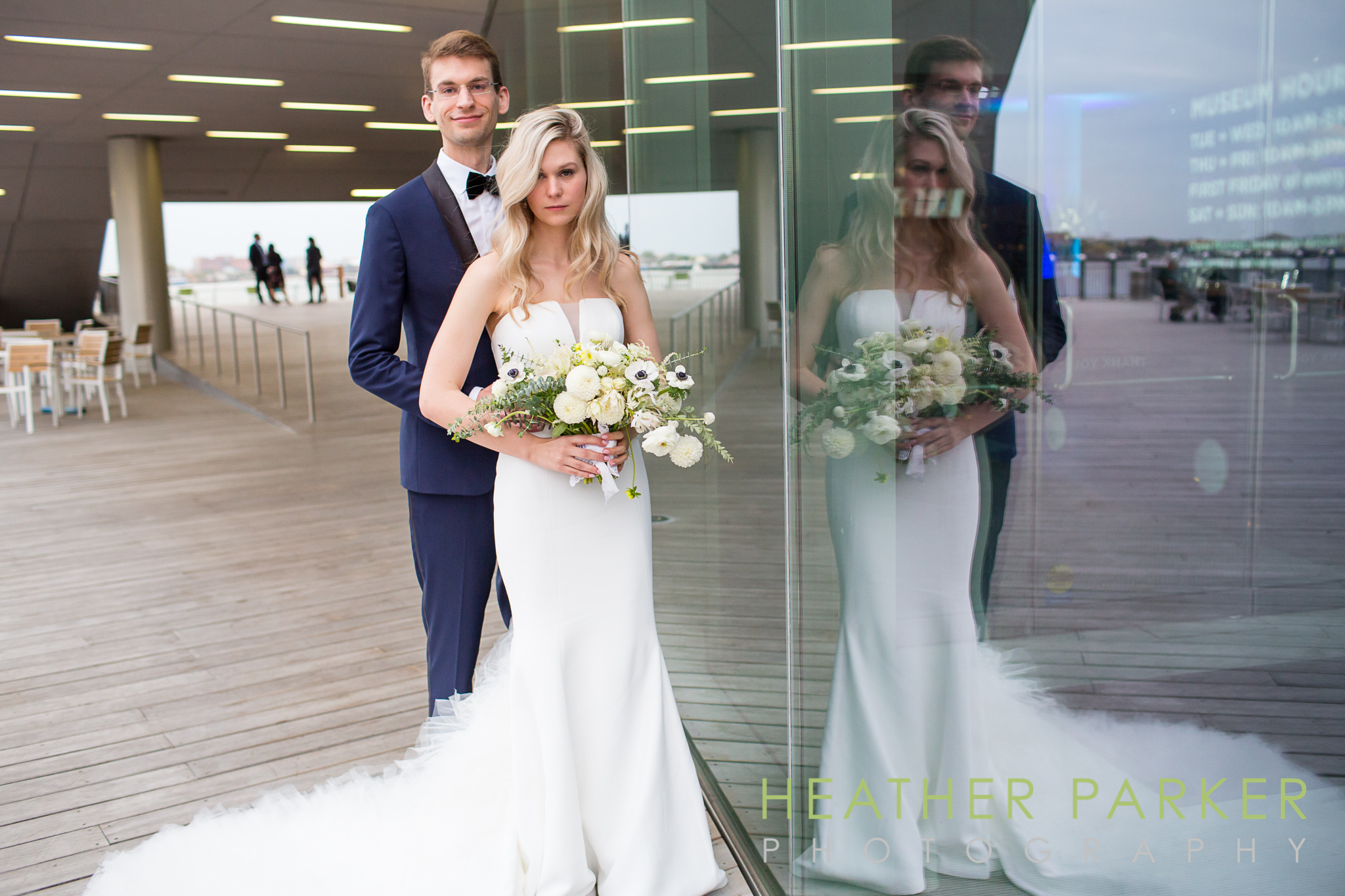 ICA Boston wedding venue photos with newlyweds
