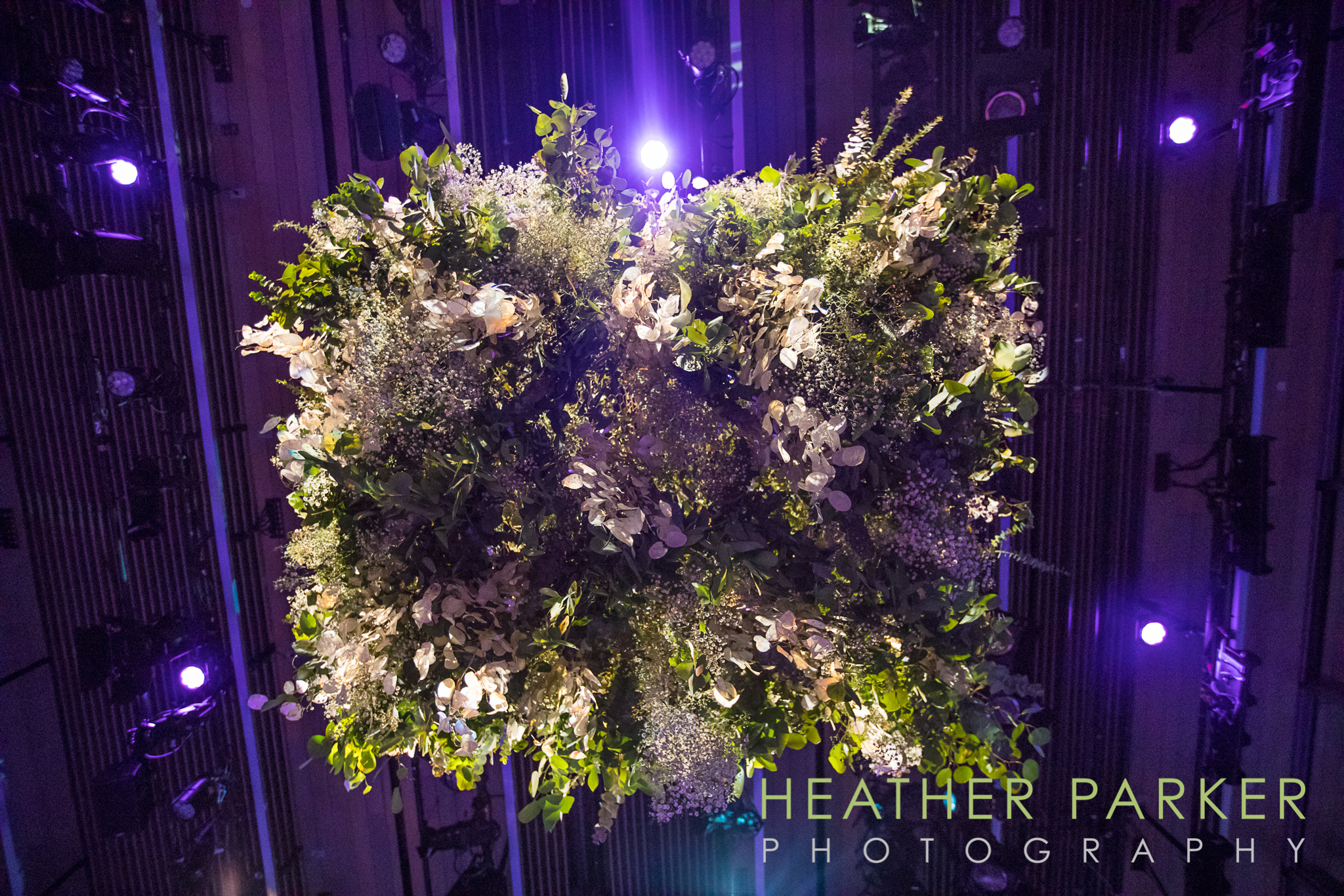 Floral chandelier by Mimosa for Boston ICA wedding