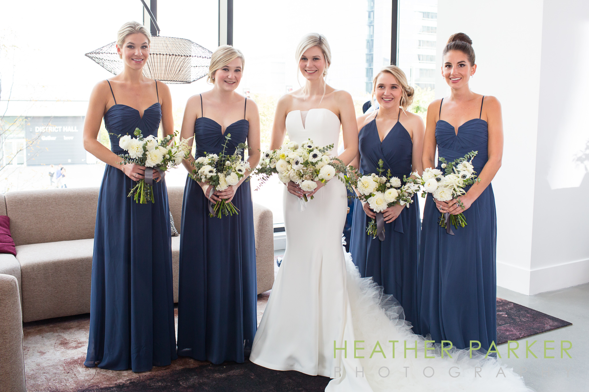 Bridal party ICA boston wedding at Waterside Place