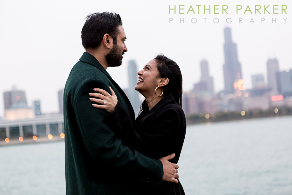 Chicago proposal photographer at the Adler Planetarium skyline