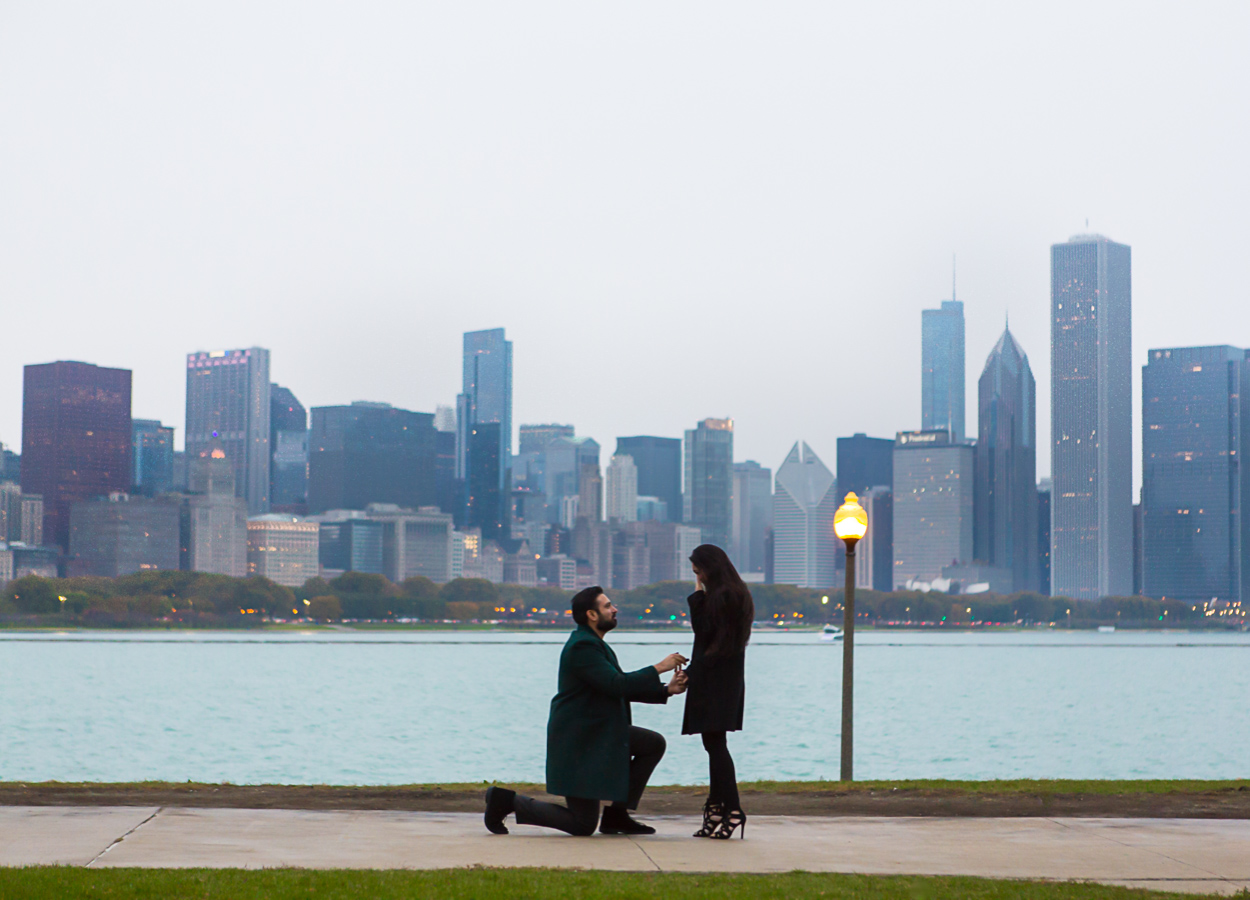 Chicago skyline proposal photographer at the Adler Planetarium