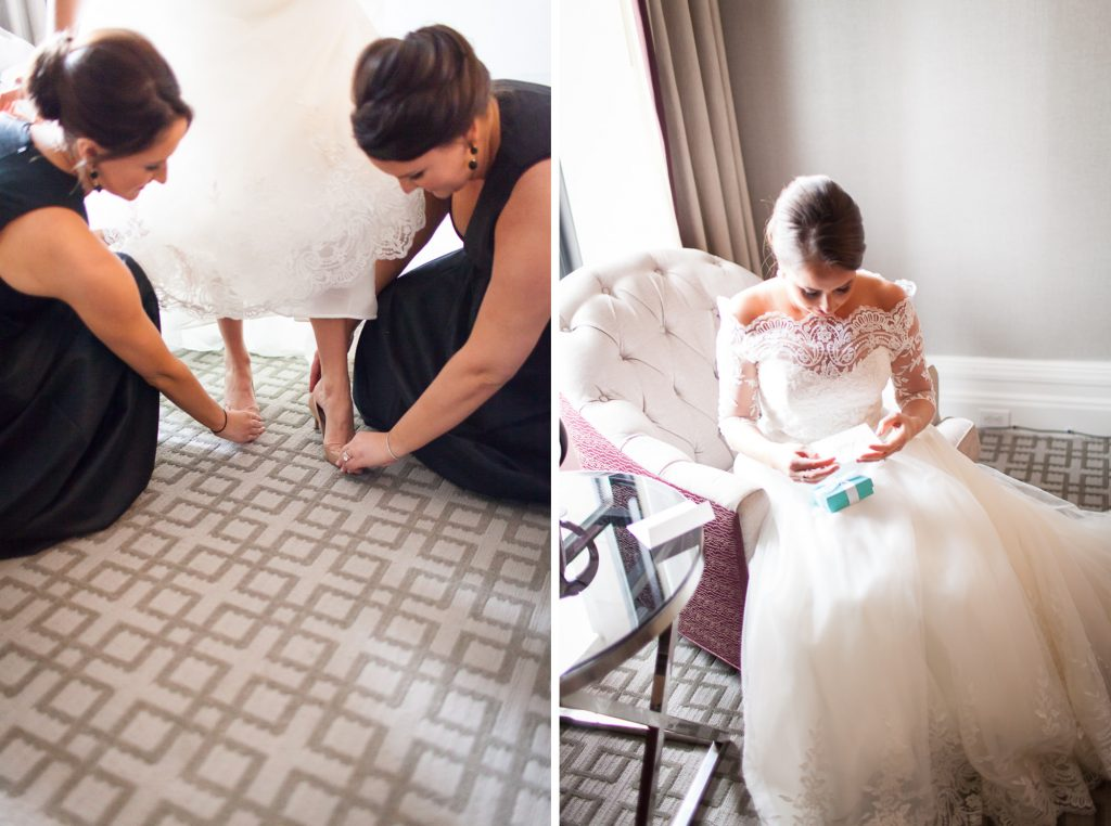 Bride and bridesmaids at Fairmont Copley Plaza on the wedding day