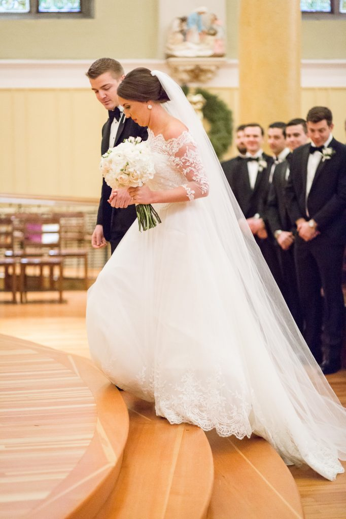 father walking bride down the aisle in church at a Saint Cecilia Boston wedding