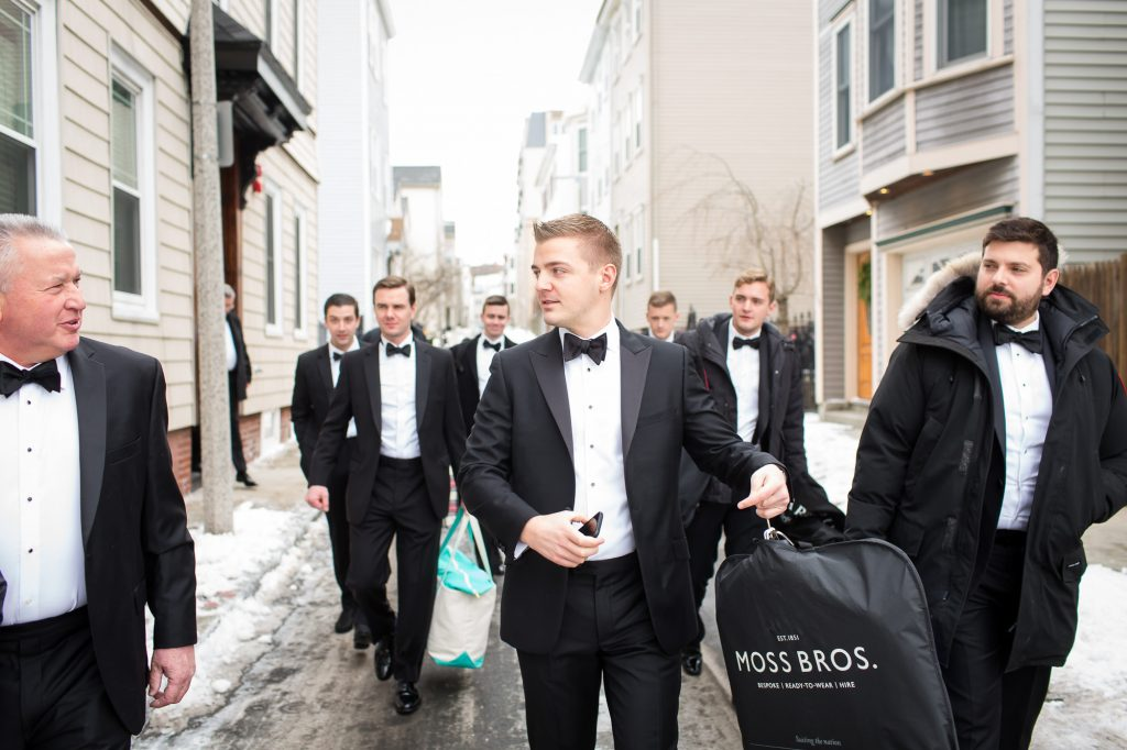 Groom and groomsmen in South Boston