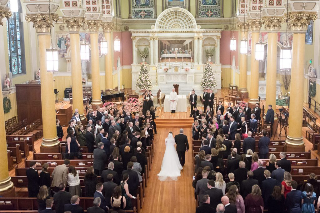 father walking bride down the aisle in church at a Saint Cecilia Boston wedding