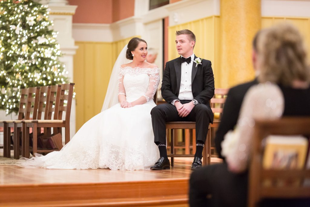 Saint Cecilia Catholic Church Boston wedding ceremony photos by photographer Heather Parker