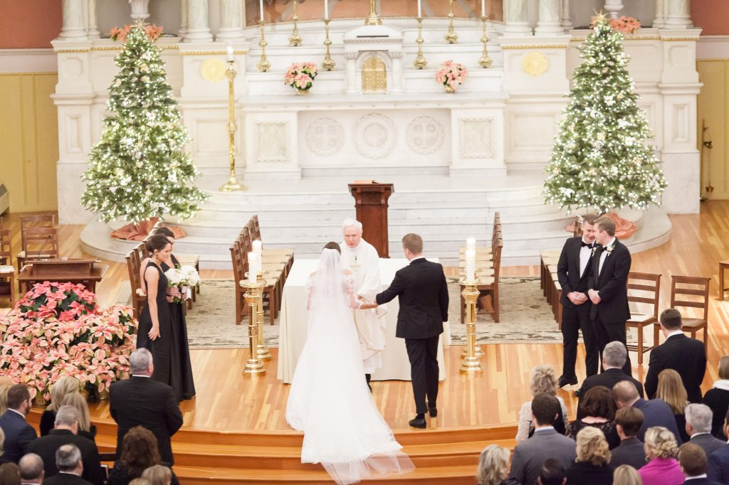 Saint Cecilia Catholic Church Boston wedding ceremony during Christmas season